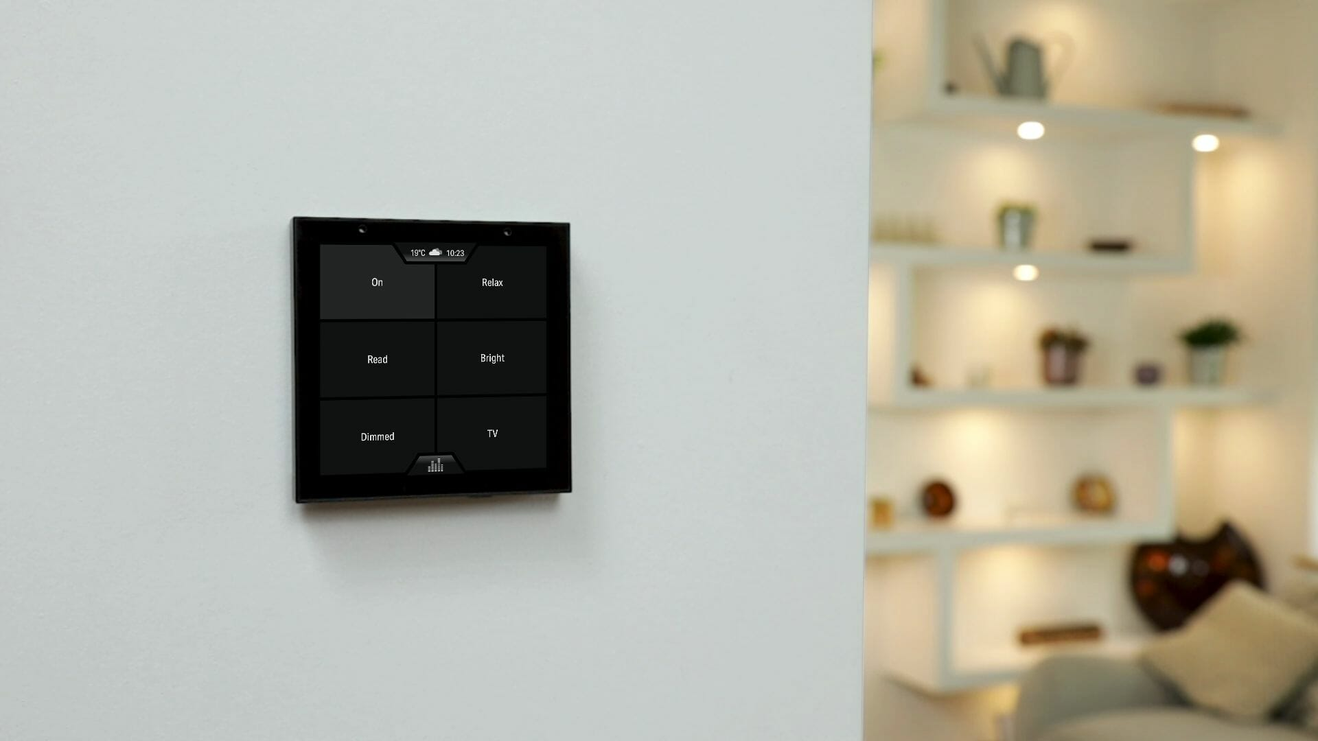 Violet SmartSwitch Lite wall mounted showing scenes screen with illuminated shelves in the background