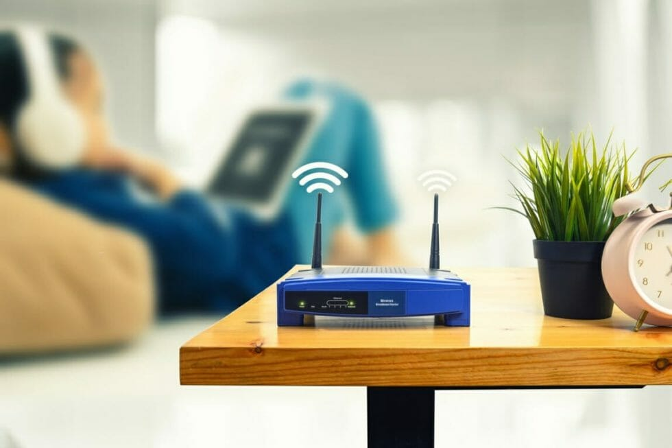 Wi-Fi router on table